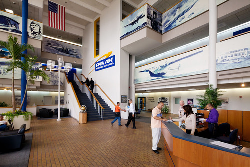 Pan Am International's interior lobby displaying the glory years of Pan American Airways.  (PRNewsFoto/Pan ...