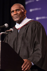 """NFL Great and former NY Giants Captain Harry Carson addressed the NYU School of Professional Studies Graduate Class of 2015 on Sunday, May 17, 2015 in New York. More than 1,200 graduate students from across the country and around the world responded warmly to the Pro Football Hall of Famer's message: """"Make something of your life."""" Photo Credit: (C) NYU School of Professional Studies/Mark McQueen"""