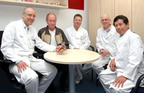 Left to right: Prof. Dr. med. A. Hoffmeier, Total Artificial Heart recipient Jan Detert post-transplant, Priv.-Doz. Dr. med. A. Rukosujew, Prof. Dr. med. J.R. Sindermann and Prof. Dr. med. T.D.T. Tjan at University of Muenster in Germany.  (PRNewsFoto/SynCardia Systems, Inc.)
