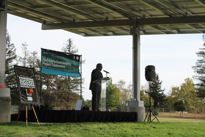 Berryessa USD Superintendent Will Ector gives remarks at the District's recent sustainability program celebration