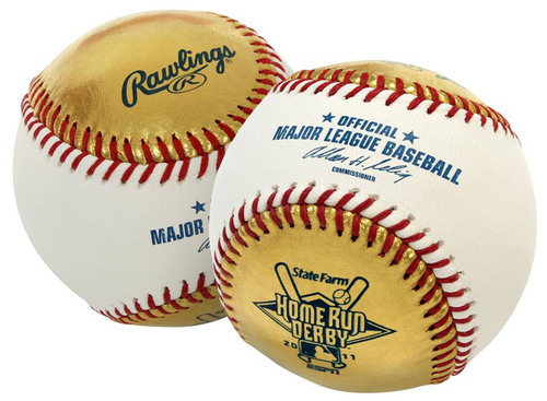 Rawlings, Gold Sports Collectibles and Major League Baseball Properties Unveil New Gold Baseball to be used in 2011 State Farm Home Run Derby.  (PRNewsFoto/Rawlings Sporting Goods Company, Inc.)