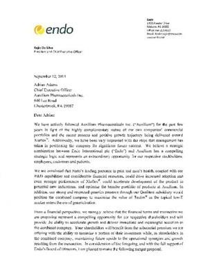 Auxilium Offer Letter (PRNewsFoto/Auxilium Pharmaceuticals, Inc.)