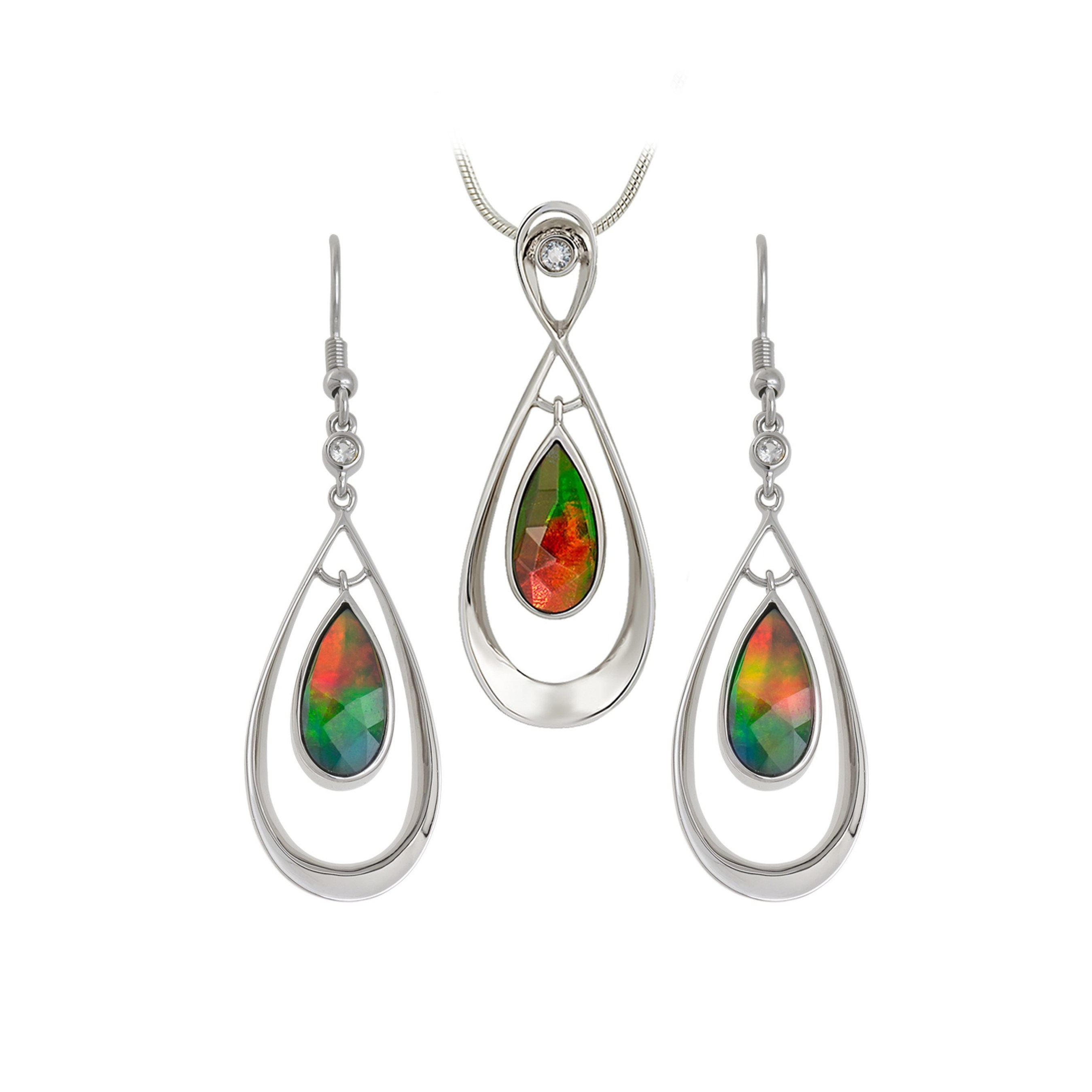 """Jewelers of America launches """"Amazing Ammolite Jewelry Sweepstakes"""" at www.jewelers.org/ammolitesweeps. Three winners will receive an ammolite earring and pendant set from KORITE."""