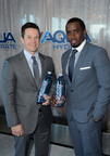 "Sean ""Diddy"" Combs and Mark Wahlberg announce their newest joint venture, water brand AQUAhydrate(R), during a press conference in Los Angeles on February 27, 2013.  (PRNewsFoto/AQUAhydrate, Inc.)"