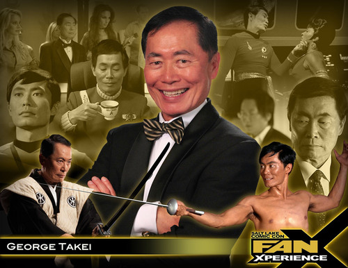 """George Takei played Hikaru Sulu in the Star Trek(TM) TV series, in the first six Star Trek feature films and is now the """"King of Facebook"""" with almost 6 million fans. FanX ticket holders will have the chance to meet Takei, up close and personal at an event in Salt Lake City on January 17th at The Leonardo. (PRNewsFoto/Salt Lake Comic Con) (PRNewsFoto/SALT LAKE COMIC CON)"""