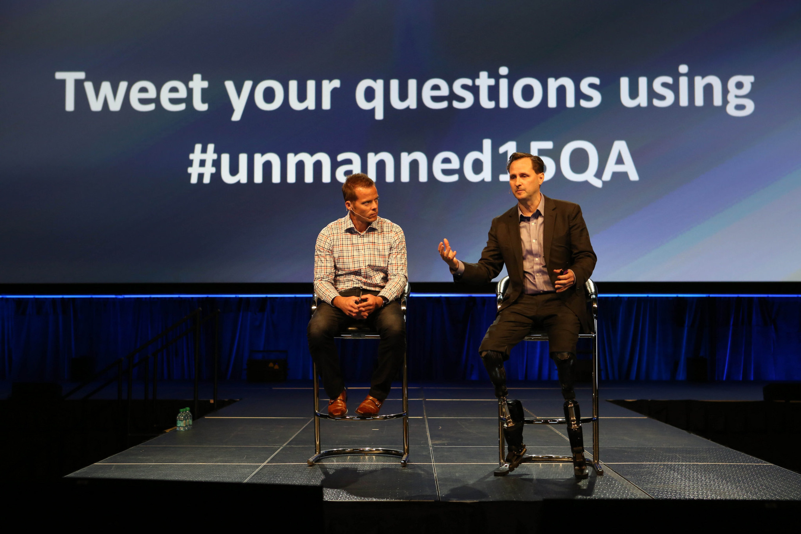 Dr. Hugh Herr answers questions about the future of bionics at AUVSI's conference in 2015, hosted by Colin Guinn of 3D Robotics.