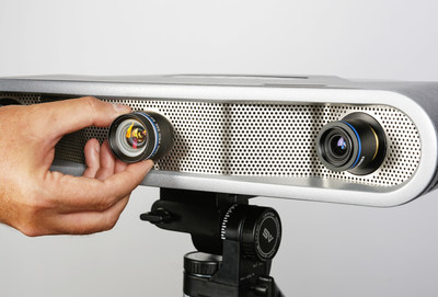 The field of view can be adjusted by simply changing lenses