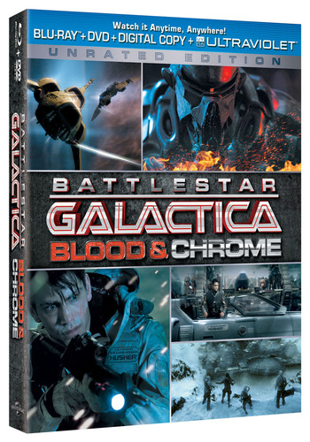 From Universal Studios Home Entertainment, Battlestar Galactica: Blood and Chrome Unrated Edition