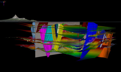 2D and 3D seismic data, structural interpretation and model in one integrated display in the 3D Canvas.  (PRNewsFoto/Paradigm)