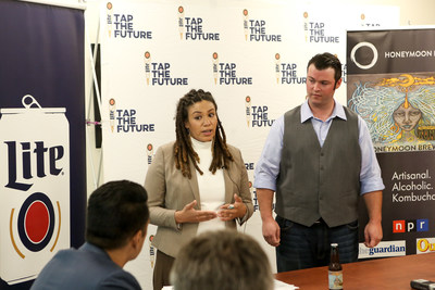 HoneyMoon Brewery co-founders Ayla Bystrom-Williams and James Hill pitch their company during the final round of judging for the Miller Lite Tap the Future business competition.