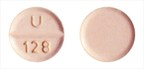 "Hydrochlorothiazide Tablets 25 mg - light orange, circular, flat, beveled, uncoated tablets, with score line having ""U"" and ""128"" debossed across the score line on one side and plain on other side. Size: around 7 mm"