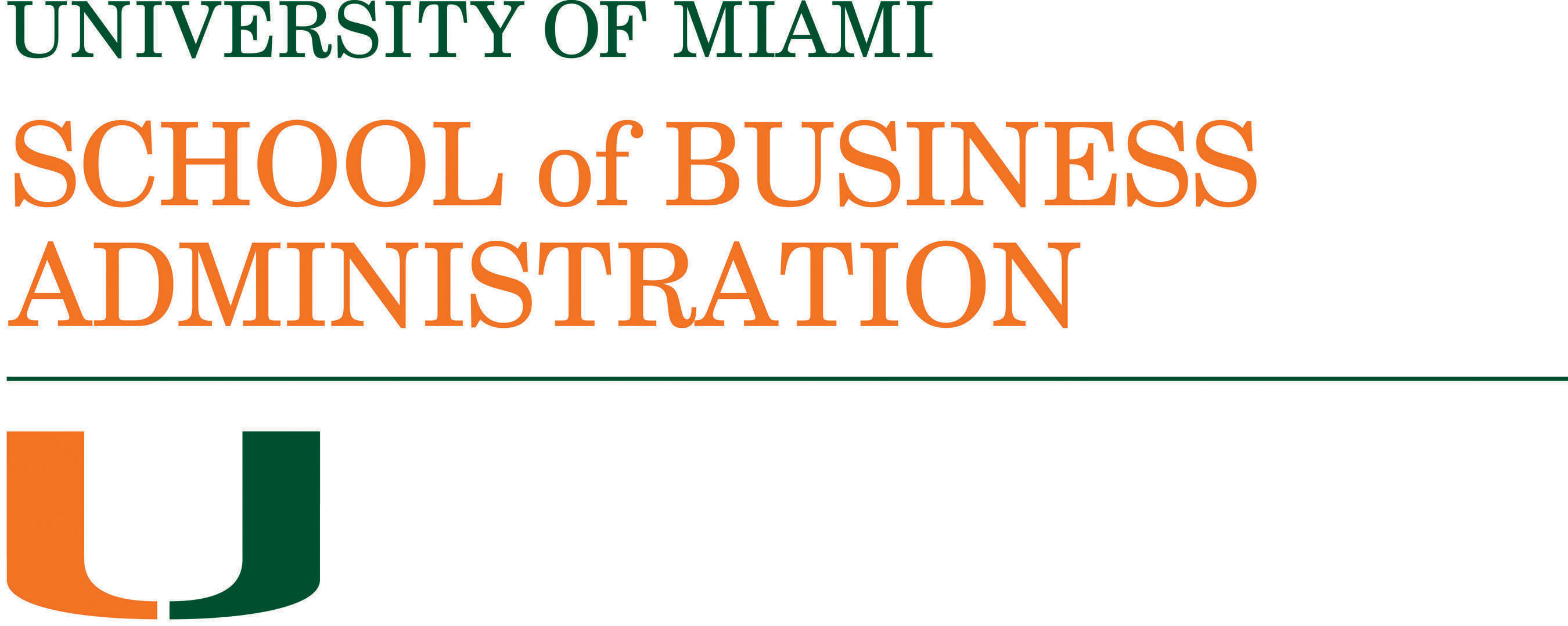 University of Miami School of Business Administration Logo.