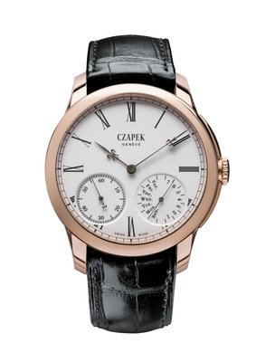 Czapek, Quai des Bergues N.33 in Rose gold and enamel Grand Feu with BlackGold Fleurs de Lys Hands. (PRNewsFoto/Czapek & Cie)
