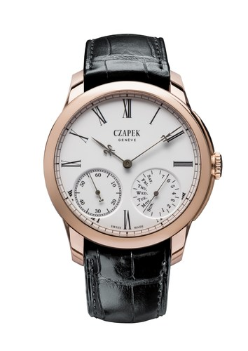 Czapek, Quai des Bergues N.33 in Rose gold and enamel Grand Feu with BlackGold Fleurs de Lys Hands. ...