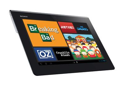 Xperia Tablet S with watch now app.  (PRNewsFoto/Sony Electronics, Inc.)