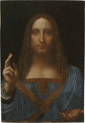 Leonardo da Vinci (1452-1519), Salvator Mundi, c. 1500 Oil on walnut panel, 25 13/16 X 17 7/8 inches (65.6 X 45.4 cm) (C) 2011 Salvator Mundi llc.  (PRNewsFoto/Robert Simon, Tim Nighswander)