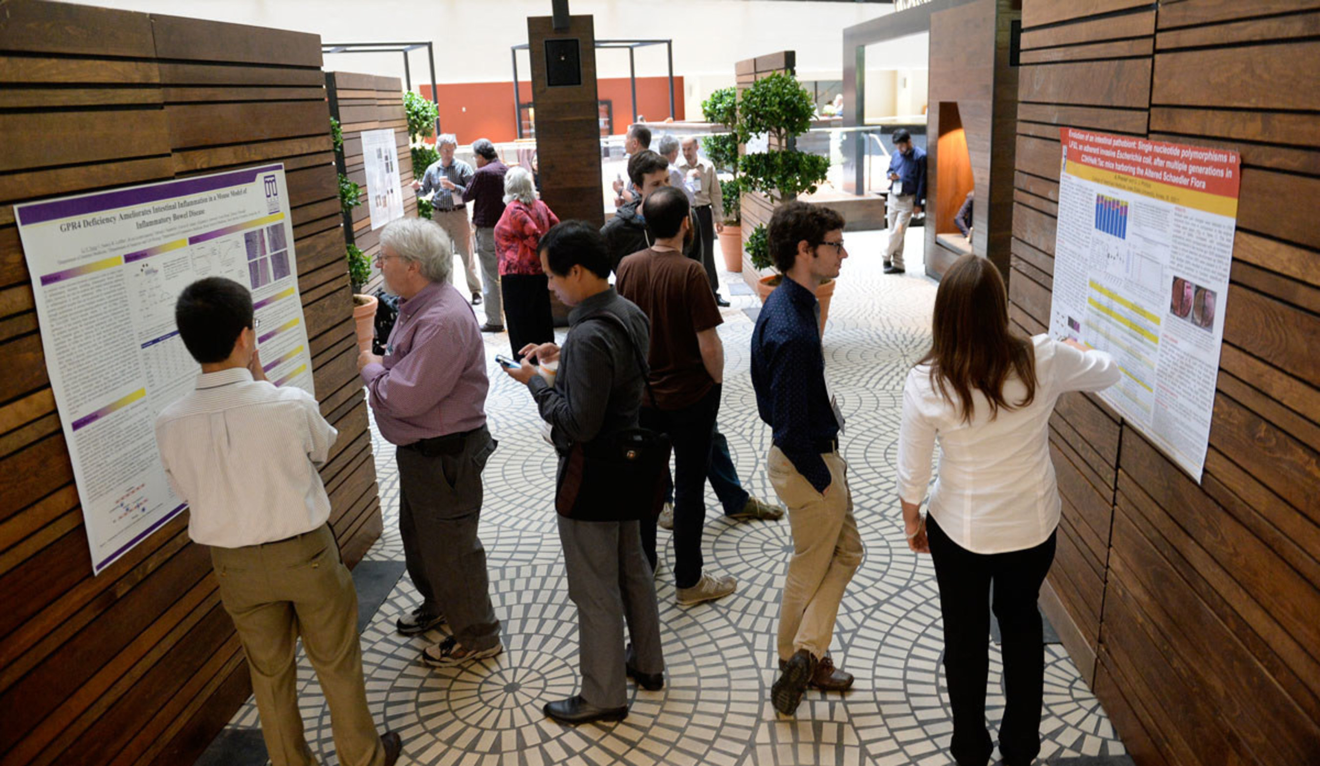 Investigators share their work and ideas with renowned guest speakers, international grantees and research colleagues during poster sessions at the Rainin Foundation's Innovations Symposium.