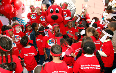 Hundreds of New York City first graders celebrate Clifford's 'Biggest Birthday Party Ever' at Scholastic's headquarters in New York City, kicking off the 50th anniversary celebration of the BIG red dog, Monday, Sept. 24, 2012. (Stuart Ramson/Insider Images for Scholastic).  (PRNewsFoto/Scholastic Media)