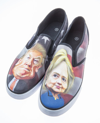 Wearable canvas shoes branded with each candidate's face.