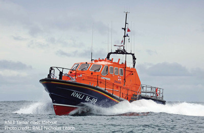 RNLI Tamar class lifeboat.  (PRNewsFoto/ACR Electronics, Inc., RNLI Nicholas Leach)