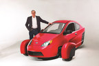 Paul Elio, founder and CEO of Elio Motors, with the P5 prototype of the Elio, a three-wheeled vehicle that will get up to 84 MPG with a targeted base price of $6,800. The company today announced it has established a Pilot Operations Center in Livonia, Mich., for the purpose of assembling its E-Series vehicles, which will be used to conduct safety, system-performance, manufacturability and durability tests prior to commercial production of the vehicle.