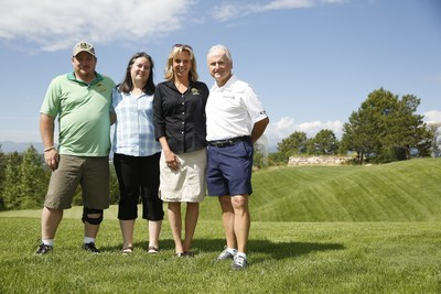 Ronie Huddleston, First Sergeant, Retired, Army Infantry, with 20 deployments to his credit, is joined by his wife Elizabeth, Project Sanctuary Executive Director Heather Ehle and Aimco's Chief Administrative Officer Miles Cortez at the Aimco Cares Charity Golf Classic at Sanctuary golf course in Sedalia, Colorado.