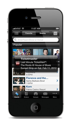 Ticketmaster iPhone app displaying TicketAlert(R).  (PRNewsFoto/Ticketmaster)