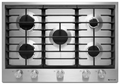 The Jenn-Air 30-inch 5-burner gas cooktop models feature a 19,000 BTU Dual-Stacked PowerBurner and 6,000 BTU simmer burner, together with a 12,000 BTU burners and a 9,000 BTU burner to handle a range of cooking functions. (PRNewsFoto/Jenn-Air)