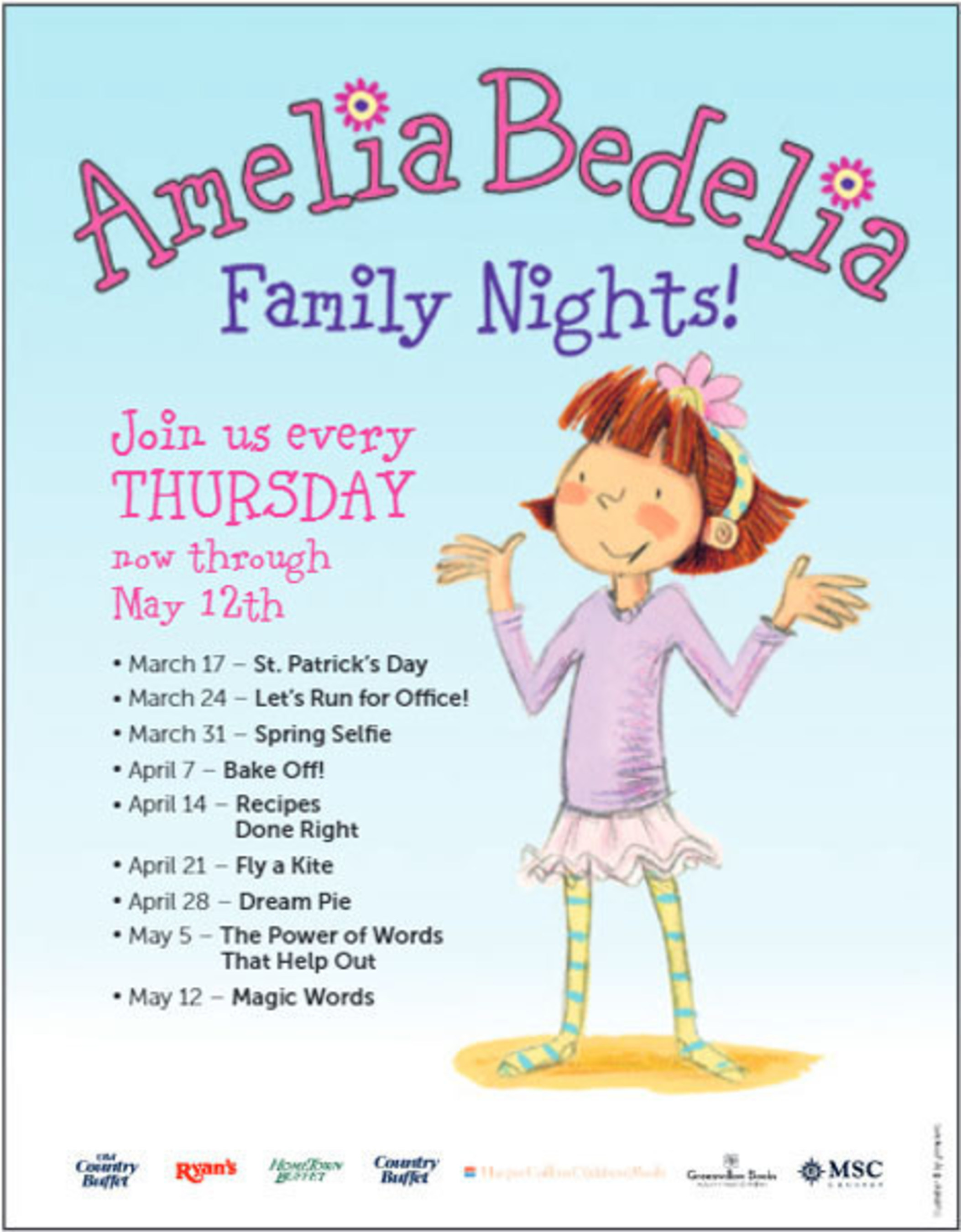 Family Nights featuring Amelia Bedelia themed activities.