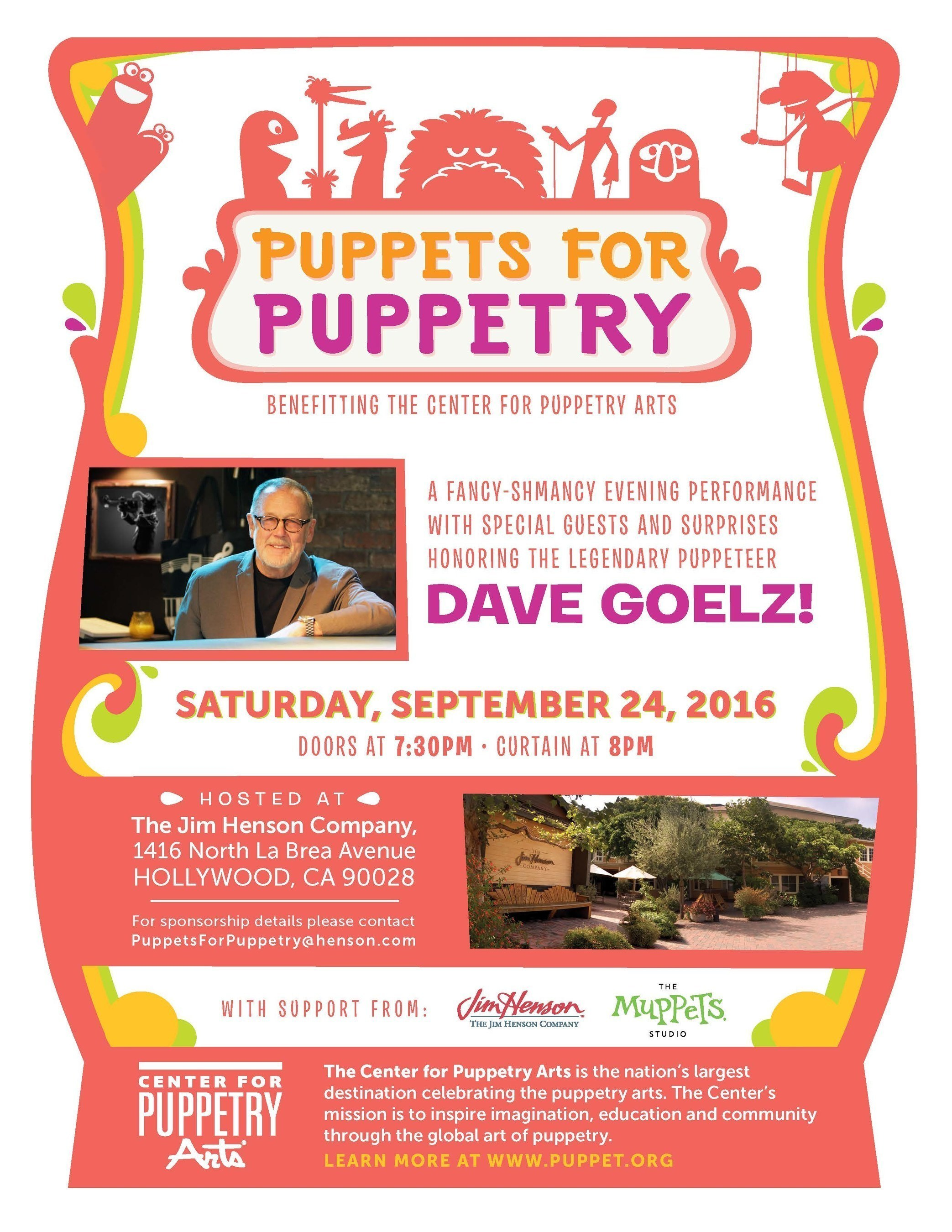 The Jim Henson Company Hosts, 'Puppets For Puppetry' Fundraiser to Honor The Esteemed Puppeteer Dave Goelz on September 24, 2016