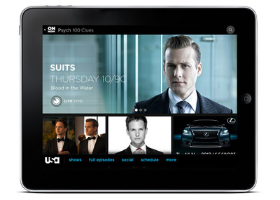 USA Network Suits Page on Tablet.  (PRNewsFoto/USA Network)