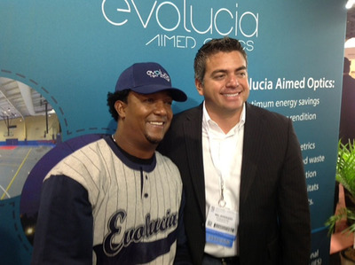 """Major League Baseball Great and current Special Assistant to the General Manager of the Boston Red Sox, Pedro Martinez, and Evolucia Inc. (OTCBB and OTCQB: ILED) CEO, Mel Interiano talk about Evolucia Aimed Optics LED (light emitting diode) lighting technology. Martinez praised Evolucia products for giving the planet an opportunity to """"light up"""" and be """"clean and green"""".  (PRNewsFoto/Evolucia Inc.)"""