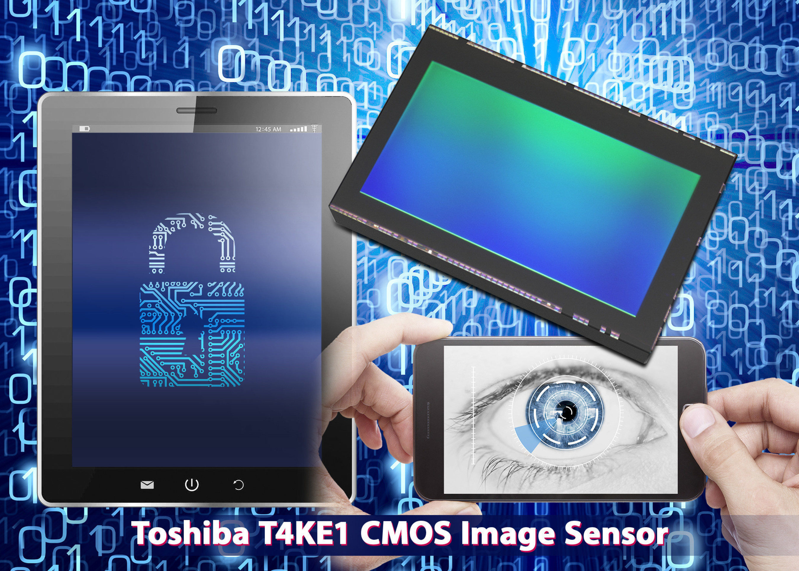 The 2.1MP T4KE1 CMOS image sensor for mobile devices is Toshiba's first to feature iris recognition biometrics for increased security.