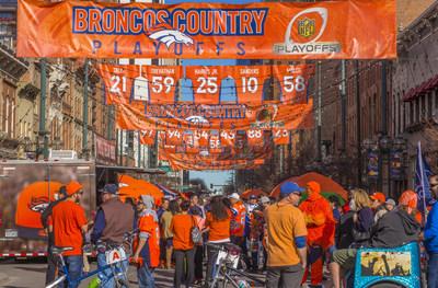 Fans celebrate in Denver ahead of the big game. Courtesy of VISIT DENVER.