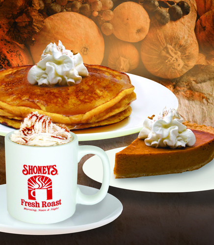 Shoney's Offers FREE Pumpkin Spice Pancakes with Any Legendary Breakfast Buffet Purchase; Pumpkin Spice Coffee and Pumpkin Pie Also Featured at Shoney's For a Limited Time.  (PRNewsFoto/Shoney's)