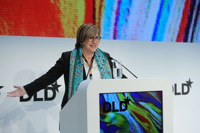 DLD founder Steffi Czerny during her opening speech at the 11th DLD conference in Munich. (PRNewsFoto/Hubert Burda Media)