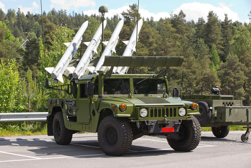 The NASAMS High Mobility Launcher provides transportability to maneuvering forces. Raytheon has delivered the first HML for Norway's National Advanced Surface-to-Air Missile System to provide Norway with advanced air defense capability.  (PRNewsFoto/Raytheon Company, KONGSBERG)