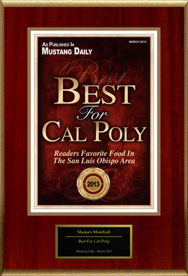 "Mama's Meatball Selected For ""Best For Cal Poly"""