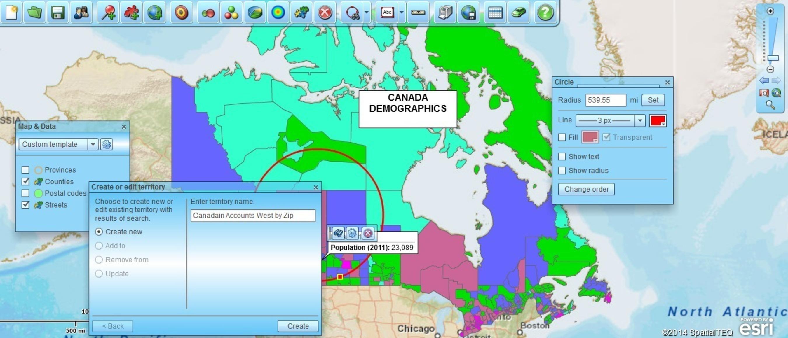 Canadian territory maps & address placement (PRNewsFoto/SpatialTEQ)