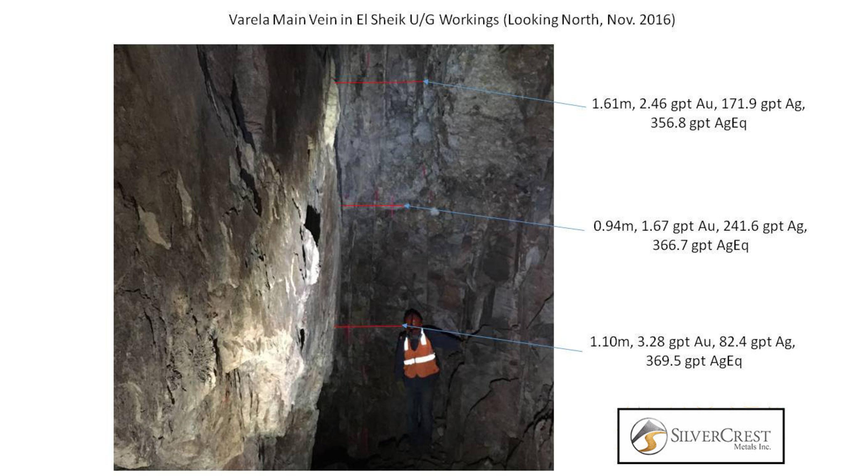 SilverCrest Metals - Sonora, Mexico - Las Chispas Project - 2016-11-14 - Varela 1 El Sheik UG Workings - looking north
