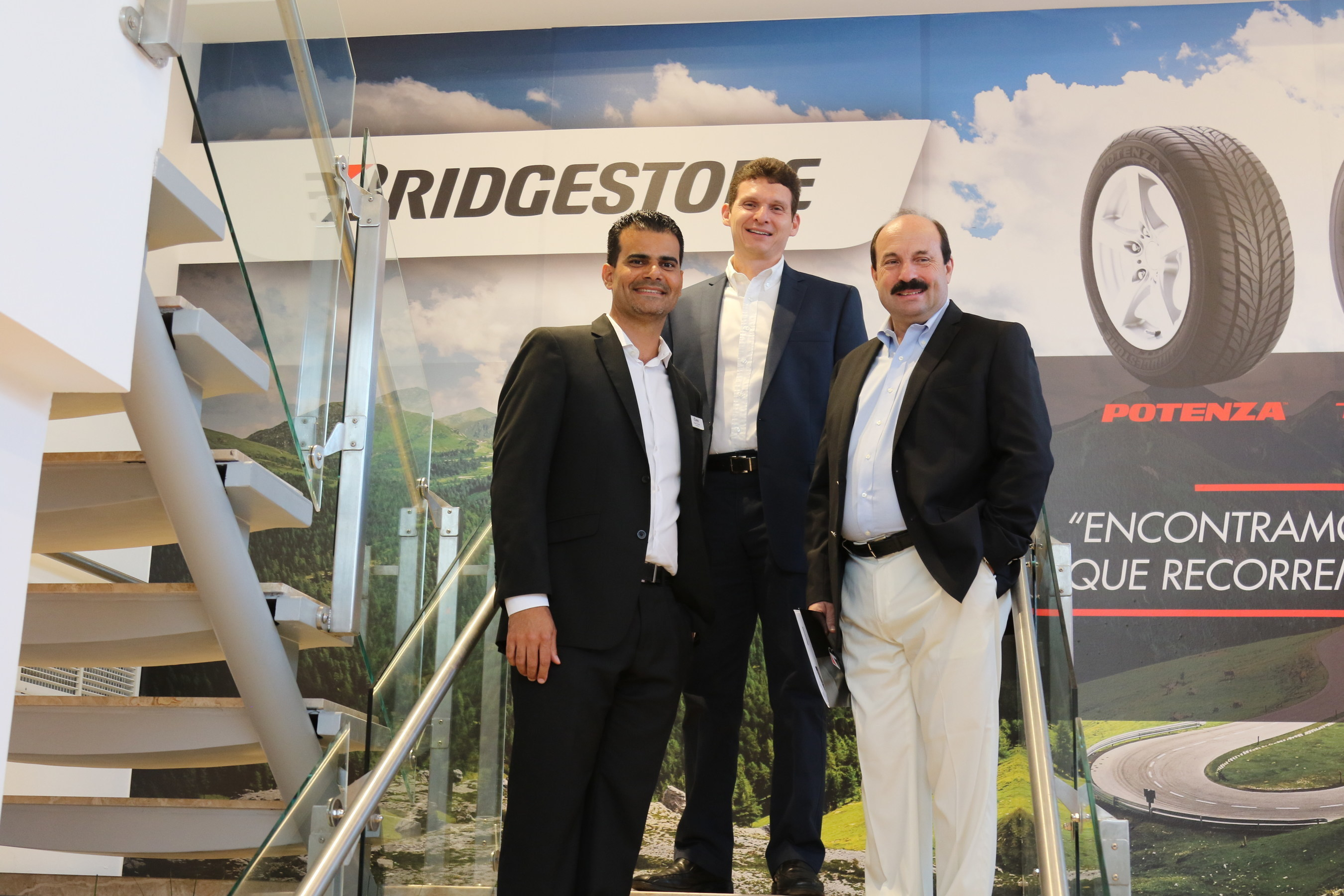 Bridgestone Executives from left to right: Josue Correa, President of Correa Tire Distributors; Erick Herrera, Country Manager of Bridgestone Costa Rica, and Daniel Benvenuti; President of BS-LAN.