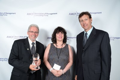 Lockheed Martin's Systems Made Simple (SMS) receives a 2016 Association of Management Consulting Firms (AMCF) Spotlight Award for its work on the VA's My HealtheVet Sustainment program. From left: Richard Copeman, SMS My HealtheVet Project Manager; Theresa Hancock, VA Director for My HealtheVet National Program; and Subcontractor Kerry Zallar, Sustainment Team Build Manager for KForce Government Solutions. Photo Credit: AMCF