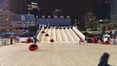 Wounded veterans and their families enjoyed ice slides and other rides at Holiday Wonderland in PetCo Park last weekend