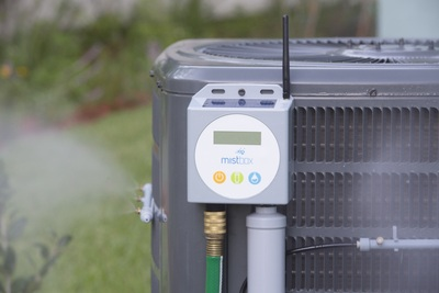 Mistbox on an outdoor air conditioner