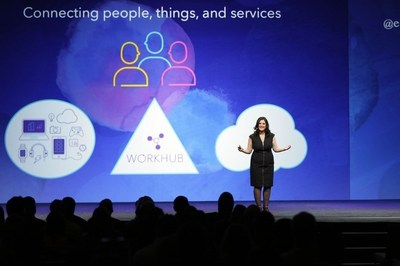 Chief executive officer, Elisa Steele, presenting the keynote at JiveWorld in Las Vegas.