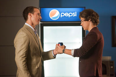 "NFL Quarterback Drew Brees and Harry Styles member of award-winning band ""One Direction"" on set for Pepsi's new commercial, ""Showdown,"" in New Orleans, LA."