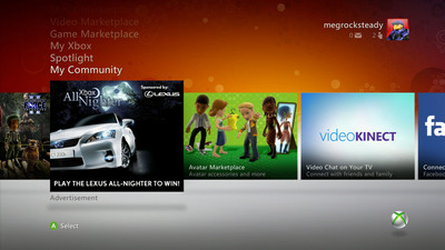 """A Lexus """"All-Nighter"""" banner ad within Xbox LIVE"""