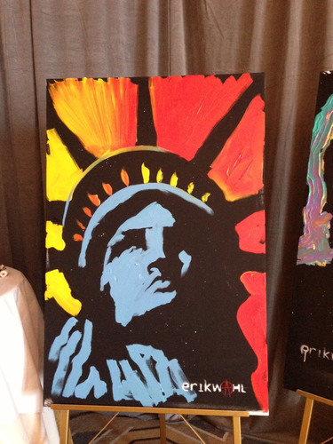 Internationally Recognized Graffiti Artist Erik Wahl Live Auctions 'Lady Liberty' Painting to