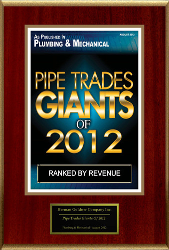 "Herman Goldner Company Selected For ""Pipe Trades Giants Of 2012.""  (PRNewsFoto/Herman Goldner Company)"