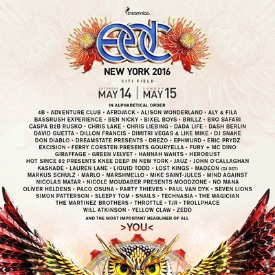 Insomniac Reveals Epic Artist Lineup for 5th Annual Electric Daisy Carnival, New York, May 14-15, 2016 at Citifield
